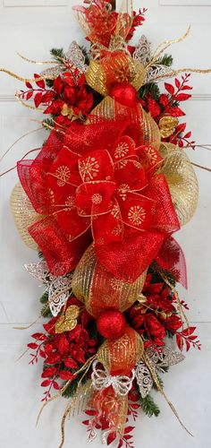 Christmas Swag - Wreath - Holiday Centerpiece - Mantle Decoration - Party Decor - Door Hanging - Wall Hanging - Winter Wreath. $64.00, via Etsy.