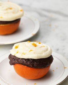 Chocolate Cupcake In An Orange Cup