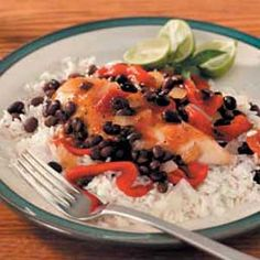 """Red Pepper Chicken Recipe- Recipes  Chicken breasts are treated to a bevy of black beans, red peppers and tomatoes in this Southwestern supper from Piper Spiwak. """"We love this colorful dish over rice cooked in chicken broth,"""" pens the Vienna, Virginia cook."""
