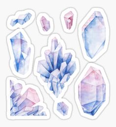 Watercolor pastel colored crystals Sticker