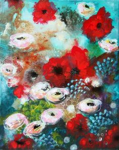 ARTFINDER: Roses with friends by Malin Östlund - Color explosion with my favorite garden flowers, roses.  NOTE: The painting is labeled for sale as not framed, but has a frame of white painted wood strips...