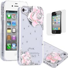 MinisDesign 3d Bling Crystal Rhinestone Flower Case Cover for Apple... ($2.70) ❤ liked on Polyvore featuring accessories, tech accessories, phone cases, iphone, iphone case, iphone cover case, flower iphone case, pink iphone case and rhinestone iphone case