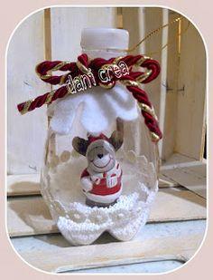Il filo di mais e Creazioni Gloria: Riciclo bottiglie di plastica: Palline per l'albero decorate