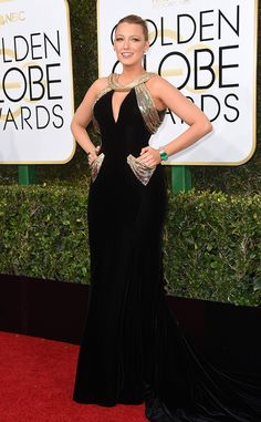 Blake Lively from 2017 Golden Globes Red Carpet Arrivals  In Atelier Versace