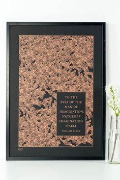 Sycamore pattern screenprint in copper on black with quotation from William Blake. £60.00, via Etsy.
