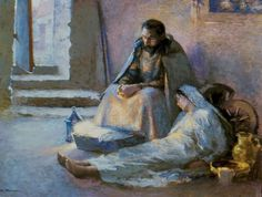 The Nativity;, by Gari Melchers (ca. 1891). As E pointed out, this is a rather more realistic depiction of how Mary must have felt than more traditional scenes