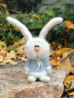 Needle Felted Rabbit  Rain by TheWhimsicalWarren on Etsy, $18.95