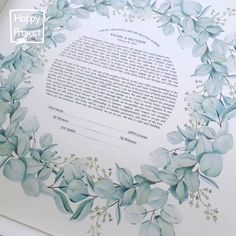 This Ketubah is unique and it will impress all the guests. It is Giclée printed on a fine art paper of the highest quality. The watercolor graphic is a gorgeous composition, perfect for your wedding. The Ketubah is a fine art piece, with a modern design. ♥♥♥ DIMENSIONS: ★ 15 x 15 inches (38.1 x 38.1 cm) ★ 18 x 18 inches (45.7 x 45.7 cm) ★ 20 x 20 inches (50.8 x 50.8 cm) ★ 22 x 22 inches (55.8 x 55.8 cm) ★ 24 x 24 inches (60.9 x 60.9 cm) Wedding Crafts, Wedding Decorations, Wedding Ideas, Botanical Wedding Theme, Dusty Blue Weddings, Wedding Vows, Wedding Locations, Floral Watercolor, Fine Art Paper