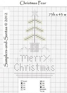 Cross stitch - Christmas, Samplers and Santas: Pears Cross Stitch Christmas Ornaments, Xmas Cross Stitch, Cross Stitch Needles, Cross Stitch Samplers, Christmas Cross, Cross Stitch Charts, Cross Stitch Designs, Cross Stitching, Cross Stitch Embroidery