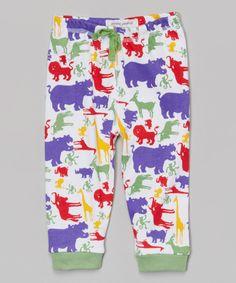 Look at this Purple & Green Safari Away Organic Pants on #zulily today!