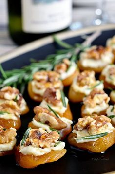 Dried Apricot Blue Cheese Canapes with Walnuts. A simple elegant and delicious…