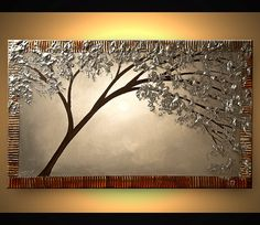 ORIGINAL Abstract Contemporary Silver Blooming Tree Painting