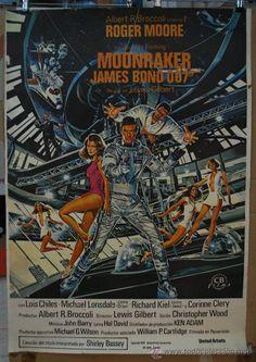 Cartelantiguo cine poster cartel pelicula MOONRAKER JAMES BOND 007 ROGER MOORE lewis gilbert