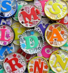 Repurposed bottle lids and plastic letters in grout ~ Now this is a FANCY set of ABC LETTERS! It could be an interesting craft for older kids to do, maybe as a present for a younger sibling . Recycled Crafts, Diy And Crafts, Crafts For Kids, Arts And Crafts, Projects For Kids, Craft Projects, Craft Ideas, Plastic Letters, Magnetic Letters