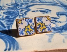 Portuguese antique tile stud earrings miniature antique by XTory