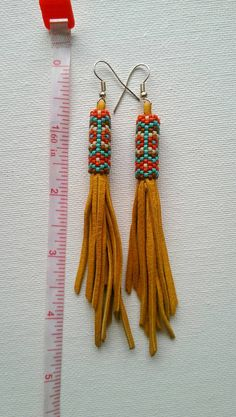 Beaded Delica Leather Tassel Earrings Native American by IndianSO