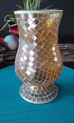 Vintage gold mosaic glass vase by US KingKing, LLC