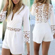 Deep V Sexy Lace Long Sleeve Romper Jumpsuit
