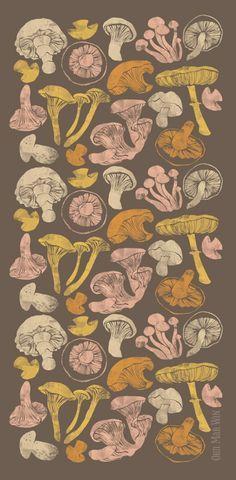 Mushroom Stew Illustration chanterelle porcini shiitake oyster Ohn Mar Win