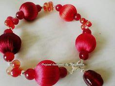 Bracelet Wooden bead wth silk thread and gemstone