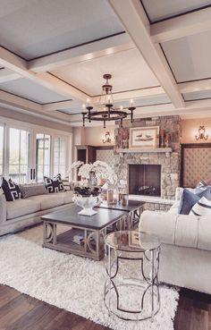Luxury Interior Design Ideas – via Houzz - Best Home Deco Chic Living Room, Home Living Room, Living Room Designs, Cozy Living, Small Living, Apartment Living, Living Room Ceiling Ideas, Cozy Apartment, Living Room Ideas Open Concept
