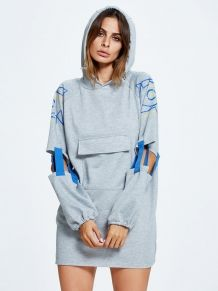 Gray Letter Print Cut Out Sleeve Pocket Front Longline Hoodie Latest Street Fashion, Latest Fashion For Women, Urban Fashion, Womens Fashion, Fashion Edgy, Winter Fashion, Edgy Outfits, Fashion Outfits, Fashion Tips