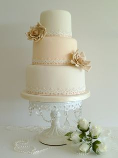 Cake idea - small, simple, lace, pearls - maybe mint colored instead?