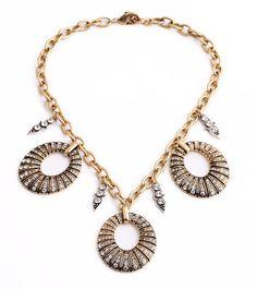 NEW * Anthropologie Anouska Rhinestone Golden Chain Necklace #Anthropologie #Chain