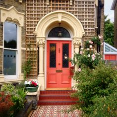 Lovely Peach Victorian Front Door And Victorian Path