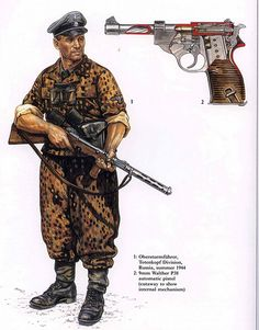 artwork of the illustrator Jeffrey Burn showing a waffen ss officer of the infamous totenkopf division in 1944