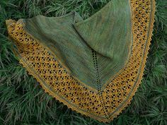 Ravelry: Gilded Age Shawlette pattern by Ellen Kardell. $5.50 5 ply. The lace part is beaded. The bind-off is a crochet/knit hybrid picot bind-off which really has me intrigued.