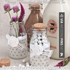 "So good - ""Vintage"" Personalized Milk Bottle Favor Jars - Vintage Wedding Favors 