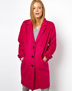 $135, Hot Pink Coat: Asos Limited Edition Pink Mohair Coat. Sold by Asos. Click for more info: http://lookastic.com/women/shop_items/52321/redirect