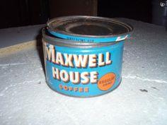 Vanha, peltinen Maxwell House- kahvipurkki, iso löytyy