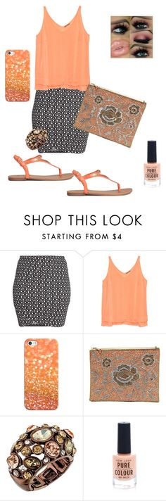 """Peachy Keen"" by samiandrenee on Polyvore featuring H&M, Casetify, LULUS, GUESS, New Look, peach, print, plus and curvy"