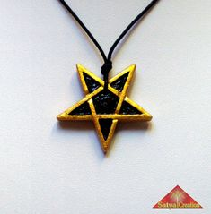 Pendant pentacle, pentagram, star pointing downwards, handmade clay pendant, color gold and black.