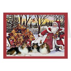Sheltie Christmas Card Santa Bears In Sleigh