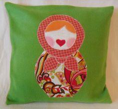 Matroyshka Appliqued Pillow