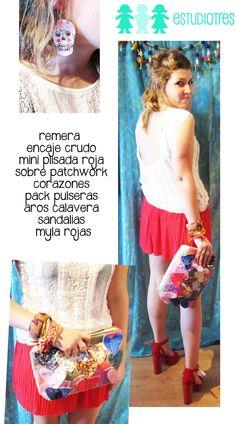 muscu encaje blanco + mini plisada roja + aros calavera + manojo pulseras + plataformas mila roja.