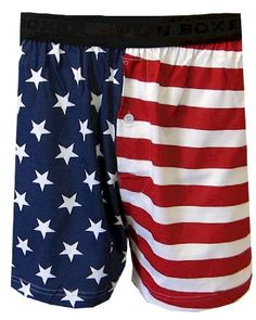 Fun Boxers Men's USA American Flag Boxer Shorts (Red  White & Blue  Size Large)