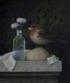 Purple Finch and Bachelor Buttons (egg tempera, 9-3/4×8-1/2) by Koo Schadler #art