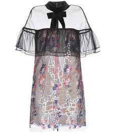 mytheresa.com - Floral Vine embroidered tulle mini dress - Luxury Fashion for…