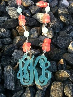 Seaglass and Acrylic custom Monogrammed Necklace
