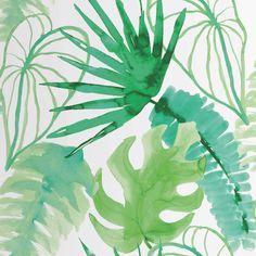 Papel pintado con diseño estampado de color verde fabricado en tejido no tejido. Tropical Wallpaper, Pastel Wallpaper, Wallpaper Roll, Beautiful Wallpaper, Trees To Plant, Plant Leaves, Motif Jungle, Jungle Theme Nursery, Motif Tropical