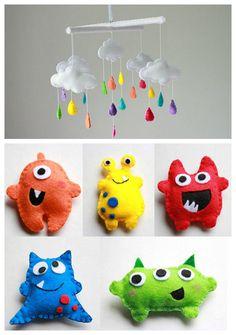 Déco enfants - Mobiles monstres en feutrine - J'adore!