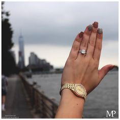 """So maybe it won't look like you thought it would in high school, but it's important to remember that love is possible. Anything is possible. This is New York"". - Carrie Bradshaw  #cushioncut #engagementrings #haloring #diamondrings #diamonds #nyc"