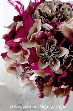Bridal Bouquet for sister-in-law -- She folded all of the origami flowers herself!