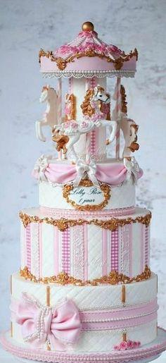 Shabby chic carousel cake by Tamara Gorgeous Cakes, Pretty Cakes, Cute Cakes, Amazing Cakes, Carousel Cake, Carousel Birthday, Birthday Cake, Fondant Cakes, Cupcake Cakes