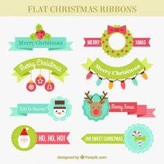 Great selection of christmas ribbons in flat style Free Vector