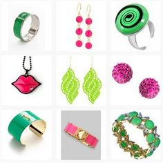 Green and pink jewellery pieces. see more here. http://www.topfloor.com/mydesigns4you/1748 #jewellery #jewelry #ring #bracelet #fashion #mydesigns4you #topfloor #style #trend #stylehaul #necklace #earrings #statement #gem